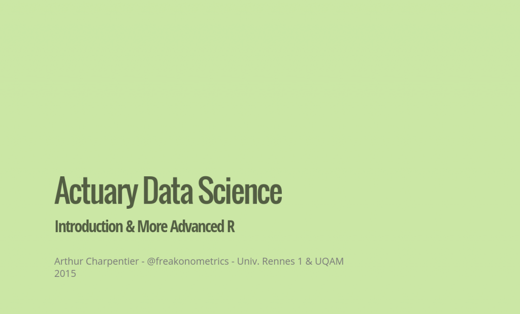 R Crash Course, Data Science for Actuaries, Year 2